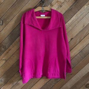 Soft Surroundings magenta v-neck terry sweatshirt